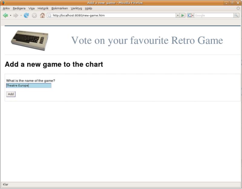 Retro Games add game page